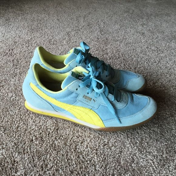 """Women's Blue Puma Lab II Sneakers Super cute and comfy trainers; Only worn twice so they are in great condition! Powder blue and yellow in color; Size: 9...From Puma website: """"Feature a mesh upper for breathability..Low-profile heritage running style originally released in 1985...Lightweight EVA midsole for stability and cushioning...Rubber outsole for added grip"""" Puma Shoes Sneakers"""