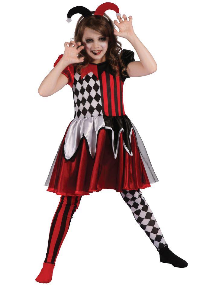 Dit duivelse harlekijn kostuum voor meisjes zal onmisbaar zijn als enge Halloween kleding voor een angstaanjagende look! - Nu verkrijgbaar op Vegaoo.nl