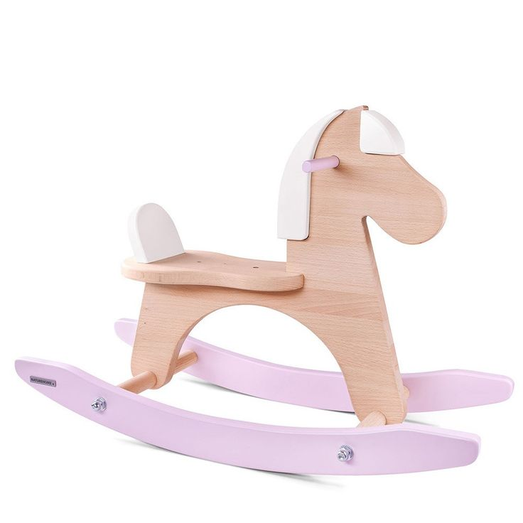 Wood Rocking Horse Lucy White Pink by NATUREHOME   NATUREHOME