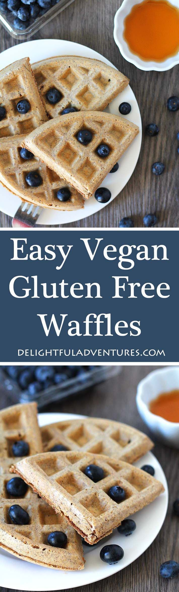 Look no further, this recipe for easy vegan gluten free waffles is what you've been looking for! Crispy on the outside and soft and fluffy on the inside. via @delighfuladv