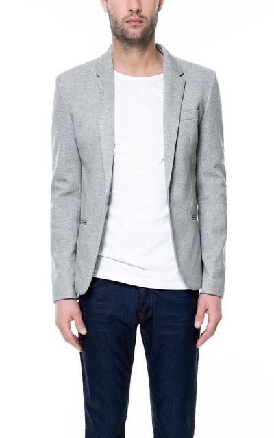 Zara Circular Knit Blazer In Marl Grey Just For Men