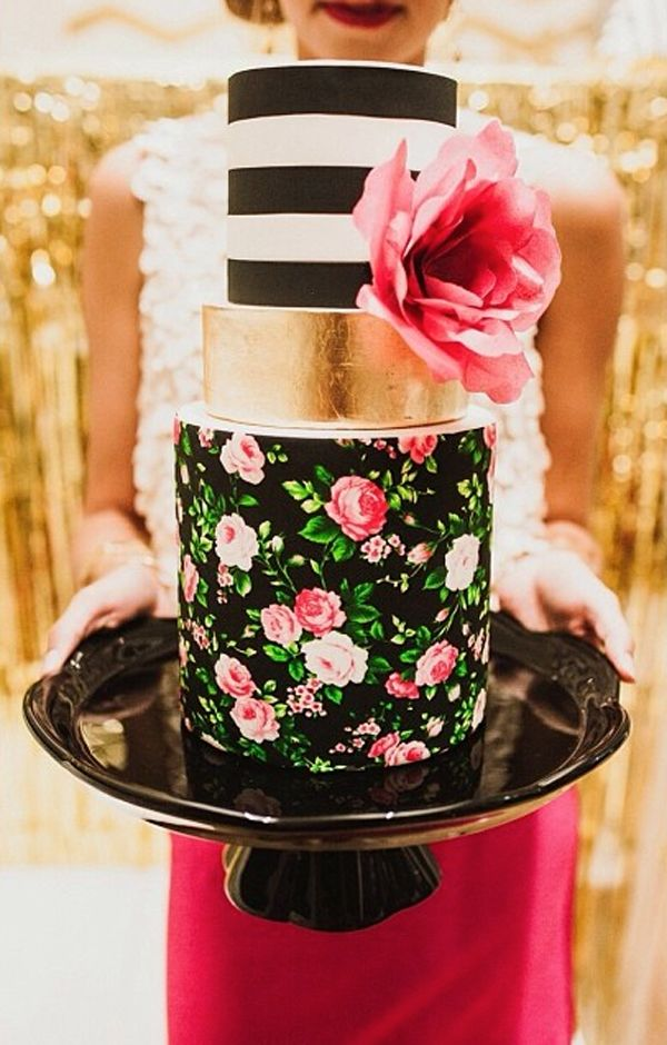 Tiered Cake with Striped top and Rice Paper Flower love that bold floral…