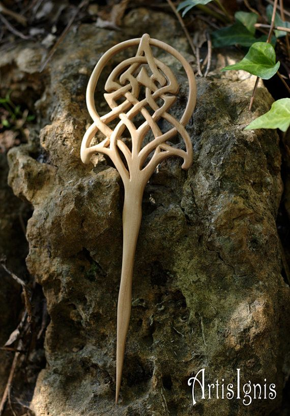 Art Nouveau Celtic Tree of Life Hair Fork Handmade by ArtisIgnis