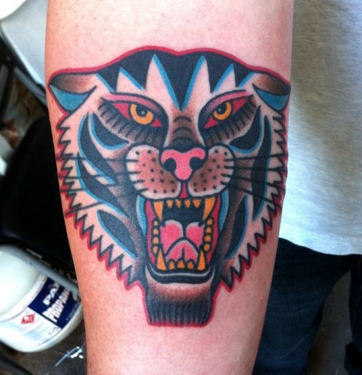 Tiger // American traditional tattoo // Awesome color by Steve Boltz Smith Street Tattoo Brooklyn, NY