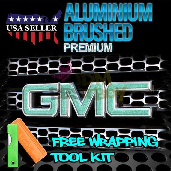 Free Kit Teal Brushed Aluminum Gmc Emblem Overlay Vinyl Wrap Kit Sticker Decal Front Rear Vinyl Wrap Vinyl Installation Vinyl