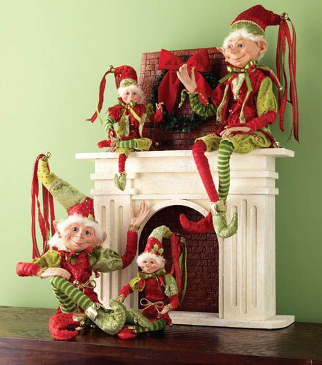 Posable Elves from the 2013 RAZ Merry Mistletoe Collection...see more decorating ideas from this collection on the Blog http://www.trendytree.com/blog/decorating-ideas-from-the-2013-raz-merry-mistletoe-collection/