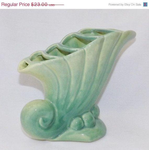Beauceware Cornucopia Vase Vintage Green by LoganAvenueVintage