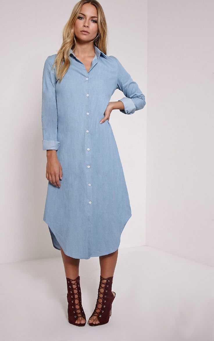 Light Blue Denim Maxi Dress   Dresscab