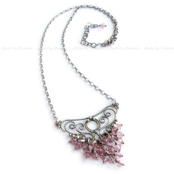 #filigree #silver #necklace #handmade #amade #swarovski