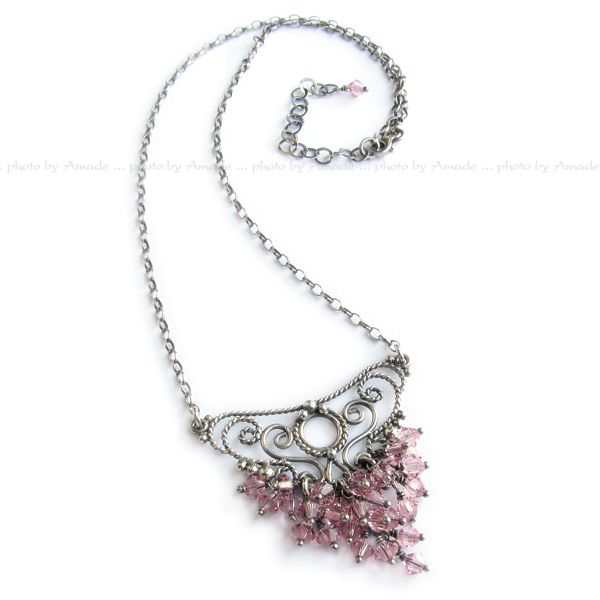 #filigree #silver #necklace #handmade #amade #swarovski