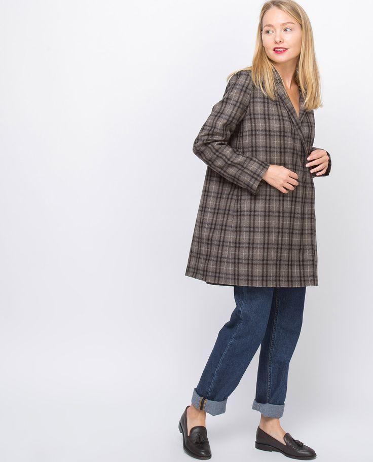 Платье-пиджак в клетку (серо-коричневое) - 12Storeez.com