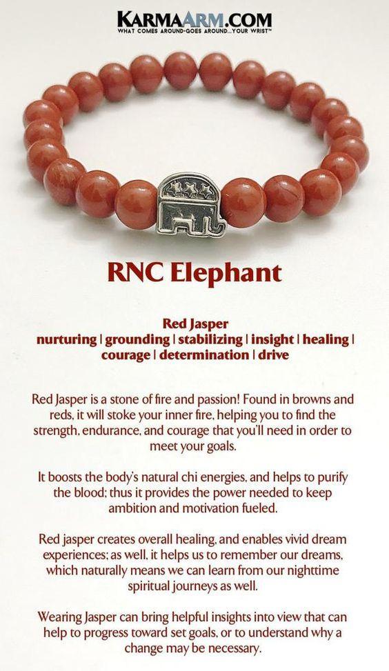 Republican RNC Elephant, Yoga Chakra Bracelet Beaded