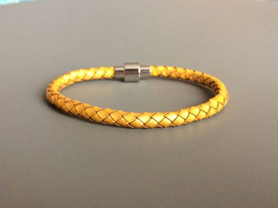 Gold Leather Bracelet with Magnet Clasp - Gold Braided Leather Bracelet - Unisex Bracelet - Teenager Bracelet - Teenager Leather Bracelet