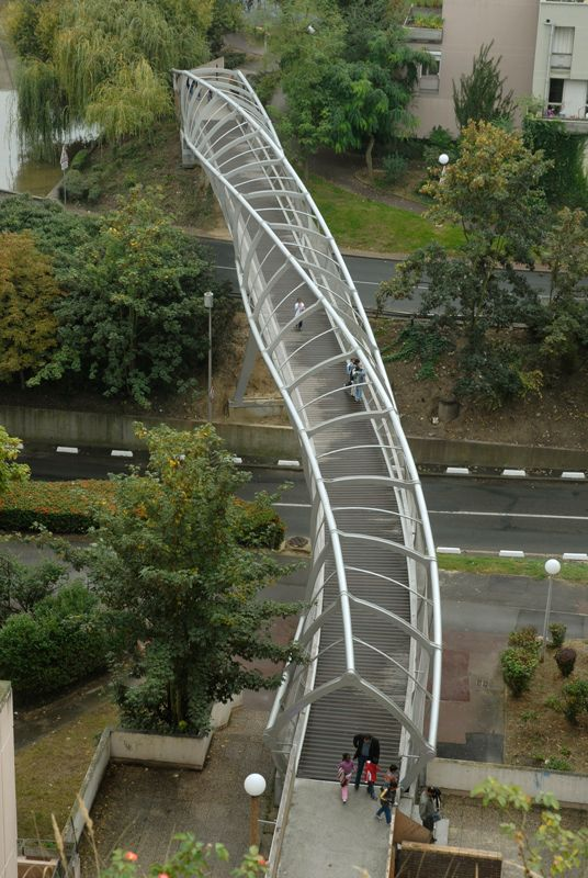 """""""DNA"""" Footbridge by DVVD I Like Architecture The lines running across this bridge are amazing!"""