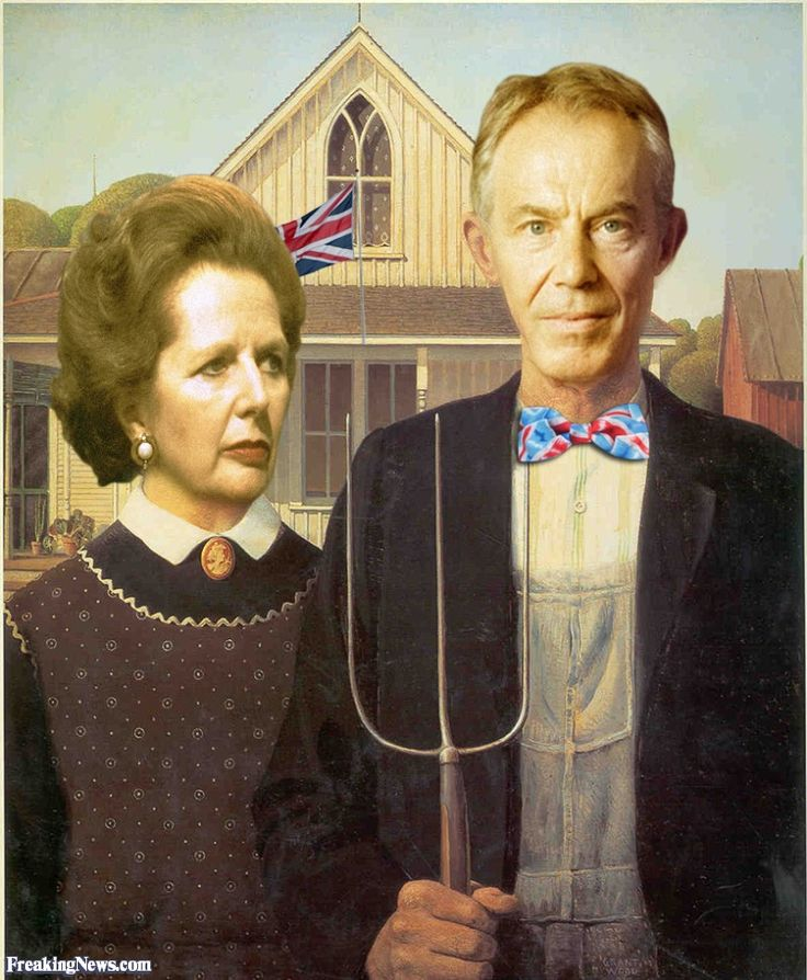 Margaret Thatcher and Tony Blair in American Gothic Painting