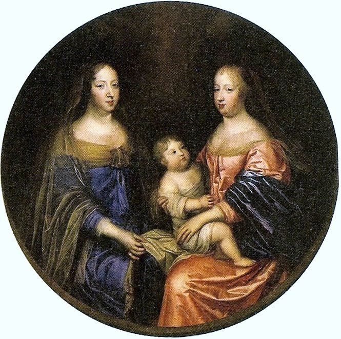 Anne of Austria with her daughter-in-law Queen Marie Thérèse (Queen of Louis XIV) holding Louis, the Dauphin of France (Circa 1662, artist unknown) - Maria Theresa of Spain - Wikipedia