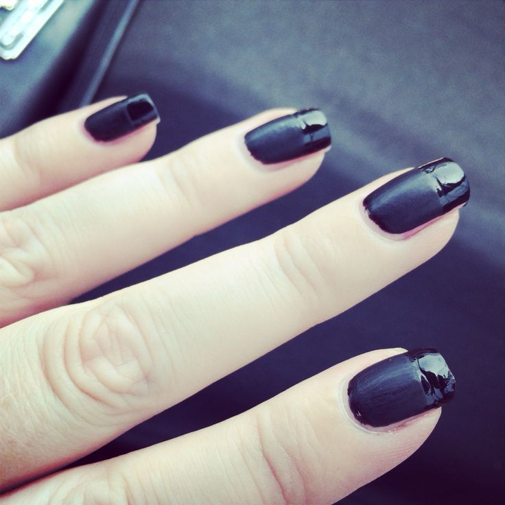 Black French tip with matte base and shiny tips