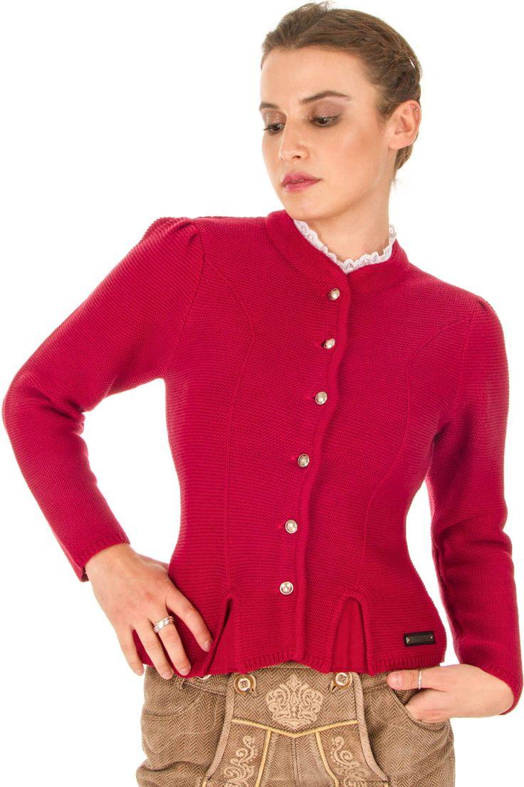 Die taillierte Dirndljacke Laura in Rot ist ein echt süßer Hingucker! Kaufen Sie Ihre Trachten-Strickjacke für Damen günstig online!
