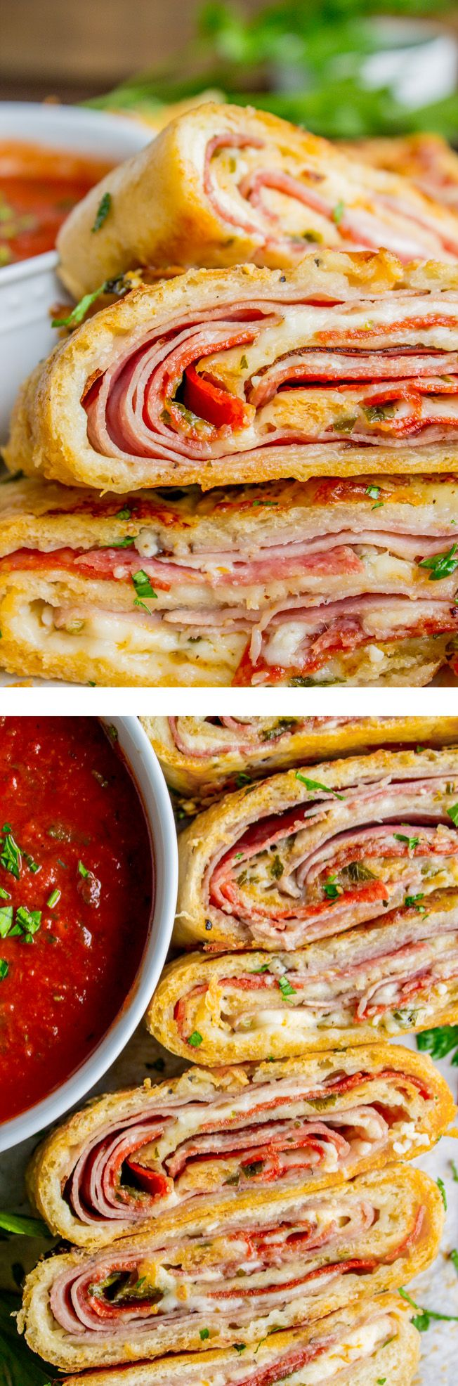 Stromboli is basically rolled up pizza with mozzarella, ham, and salami. I threw in some pepperoni and pepper jack cheese just for fun. Dip in marinara!