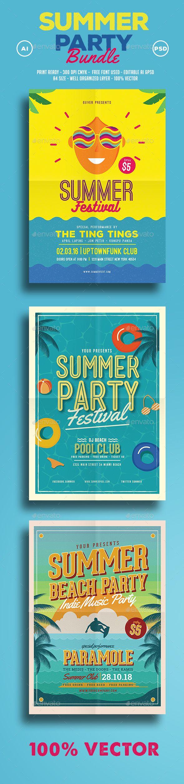 Summer Festival Templates PSD, AI Illustrator Bundle. Download here: https://graphicriver.net/item/summer-festival-bundle/17374606?ref=ksioks