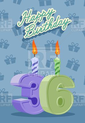 Happy Birthday Card With 36th Birthday Vector Image Vector Artwork