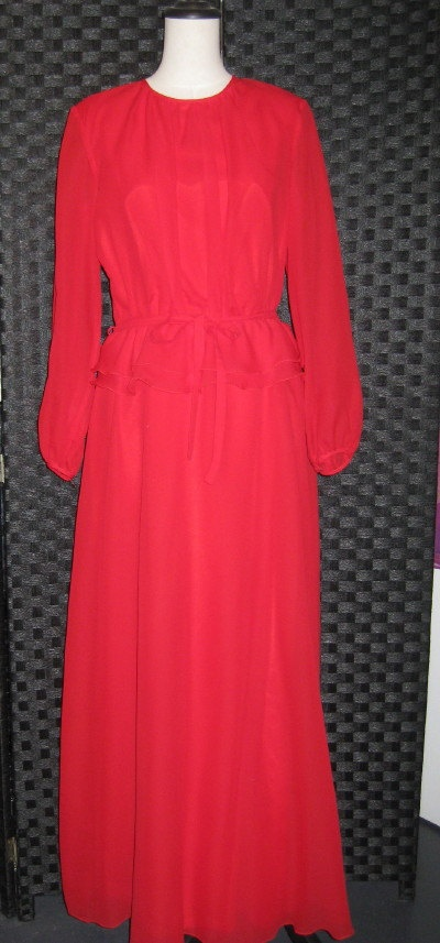 Vintage Red 1970's Maxi Dress by ChinaAndOldStuff on Etsy, $125.00