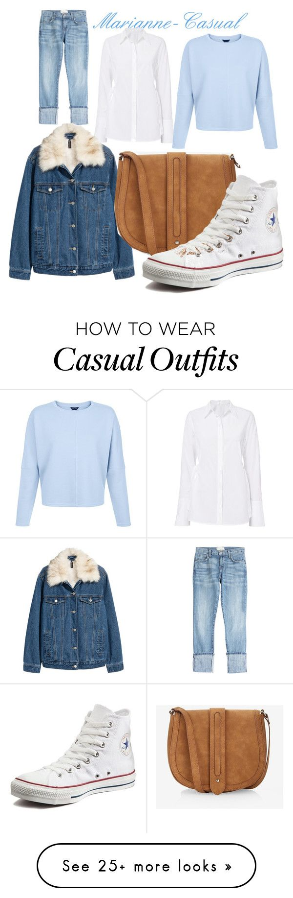 """Marianne-Casual"" by rachel-lesch on Polyvore featuring A.L.C., Current/Elliott, H&M, Express and Converse"