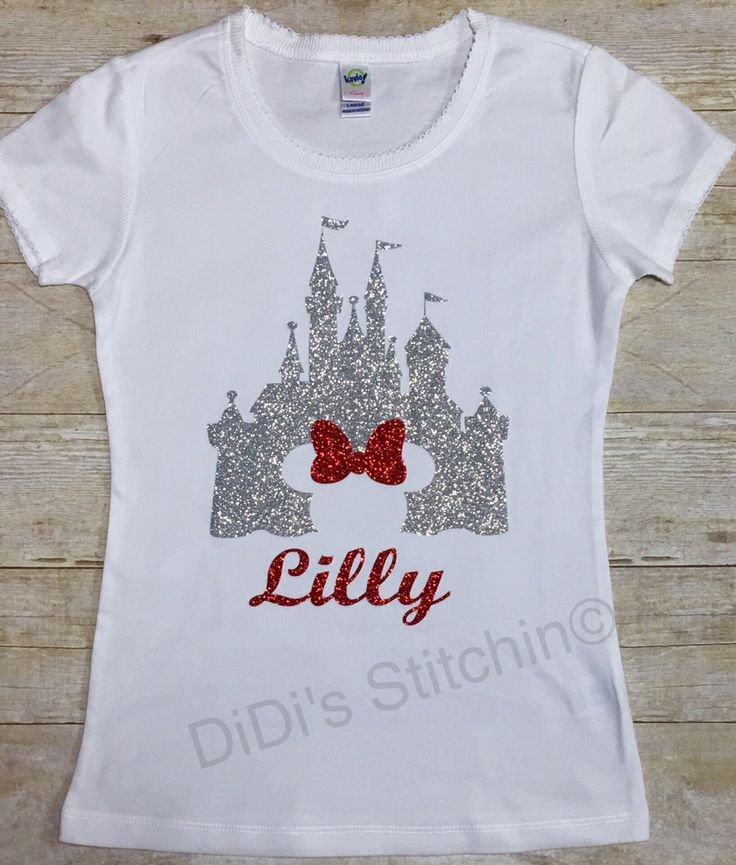 All girls love Cinderellas Castle. The shirt is done with glitter vinyl and you can chose what color castle you would like to have.  *****Please include in note to seller*****   1. Color choice of castle 2. Childs name   This tee has a delicate style with scalloped details on neck and sleeve. Contrast 2X1 rib fabric on neck and sleeve 3/8 neck band 1X1 baby rib, 100% cotton ring spun combed.
