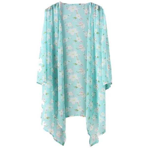Bestyou Women's Floral Printed Sheer Chiffon Kimono Cover up Tunic... (2515 DZD) ❤ liked on Polyvore featuring tops, flower print top, floral top, floral print kimono, blue kimono and blue floral top
