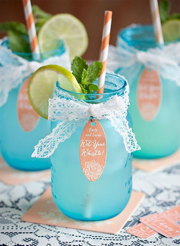 Tarros de cristal para bodas limonada con pajitas - Como hacer color turquesa ...