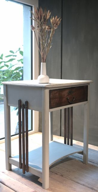 Nachttisch Nachtschrank Nachttischchen Grau Holz Antik dunkles Holz Bauhaus Jugendstil