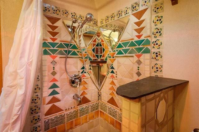 Santa Fe Pueblo Style Tiny Home Interior - Mosaic Tile Bathroom