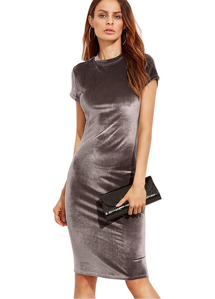 Short Sleeves Velvet Bodycon Midi Dress_Midi Dress_Dresses_Sexy Lingeire | Cheap Plus Size Lingerie At Wholesale Price | Feelovely.com