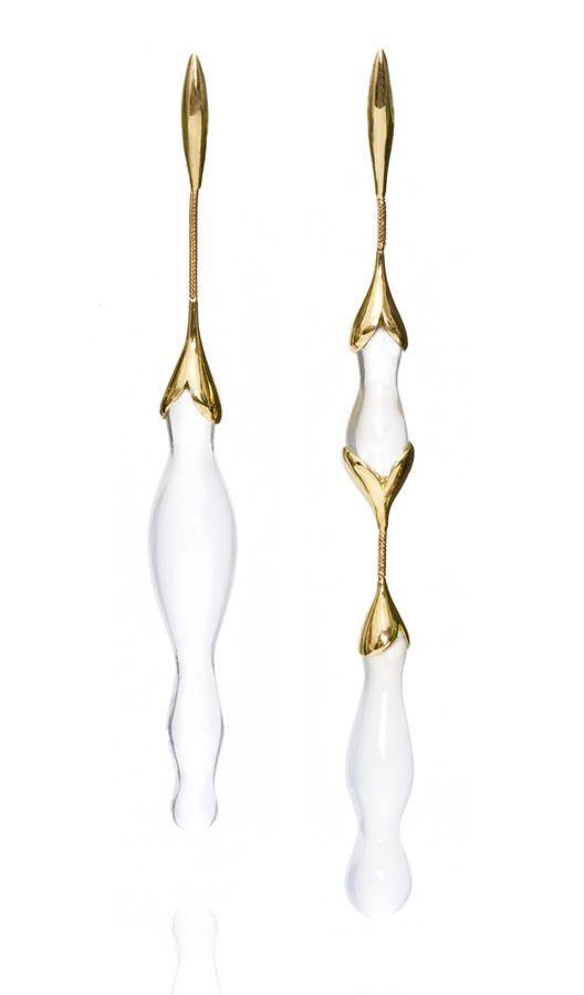 Fernando Jorge earrings   yellow gold and milky quartz