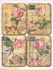 Shabby Vintage Bügelbild Rose Postcard   NO. 56