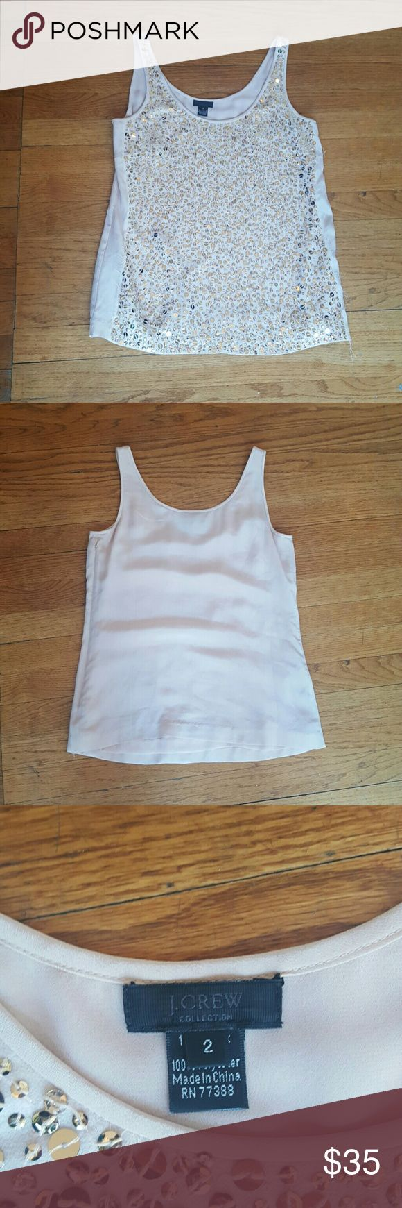 J CREW PALE PINK WOMENS TANK J. CREW WOMENS  SIZE 2 BLUSH  PALE PINK GOLD SEQUINS DRESSY TANK TOP BLOUSE GREAT FOR WORK! ON TREND FOR COLOR EUC J. Crew Tops Tank Tops
