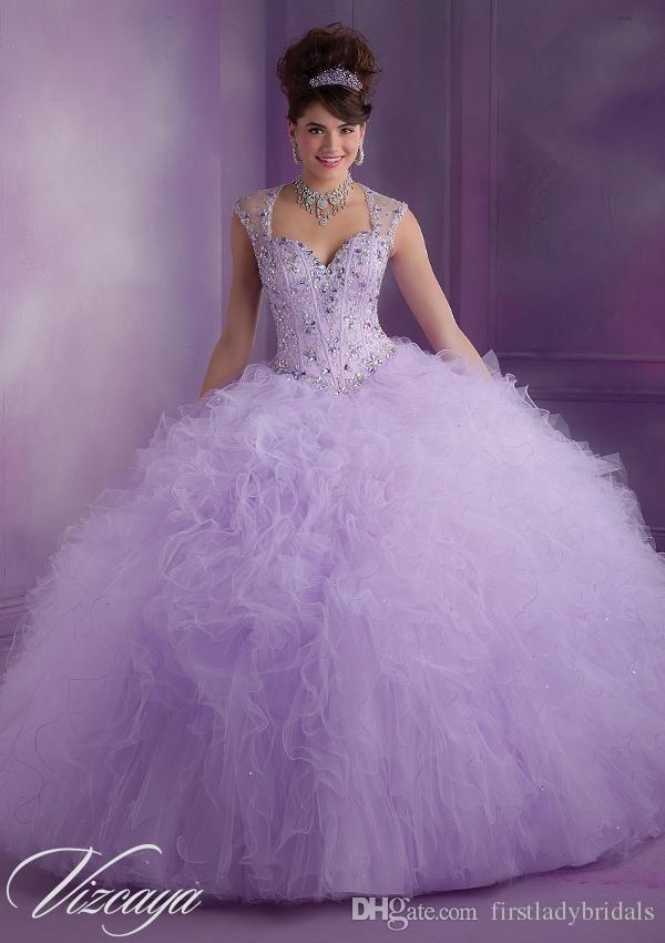 Vestido De Debutante Para 15 Anos Lavender Ball Gowns Quinceanera Dresses Tulle Cap Sleeve Beaded Crystals Prettiest Puffy Sweet Dress                                                                                                                                                                                 Más