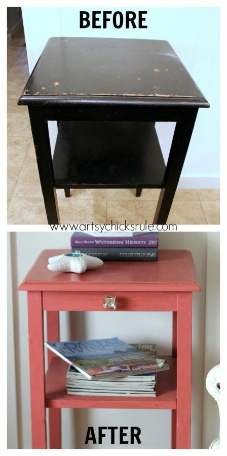 Thrifty Side Table Makeover-Annie Sloan Chalk Paint-Before and After- artsychicksrule.com #chalkpaint