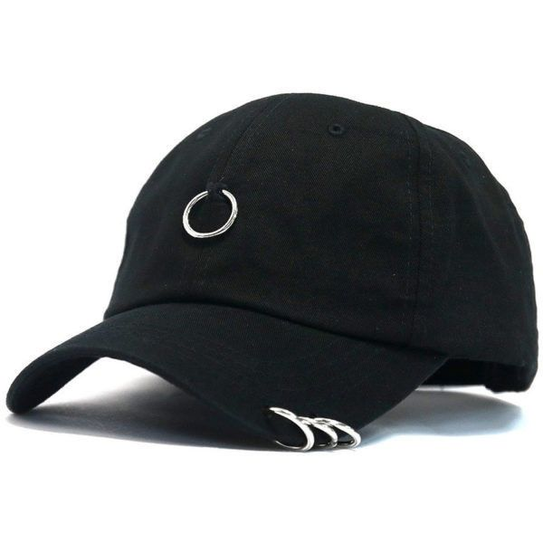 METAL RINGS COTTON BASEBALL CAP ($18) ❤ liked on Polyvore featuring accessories, hats, baseball hat, cotton baseball cap, baseball caps, cotton hat and metal hats