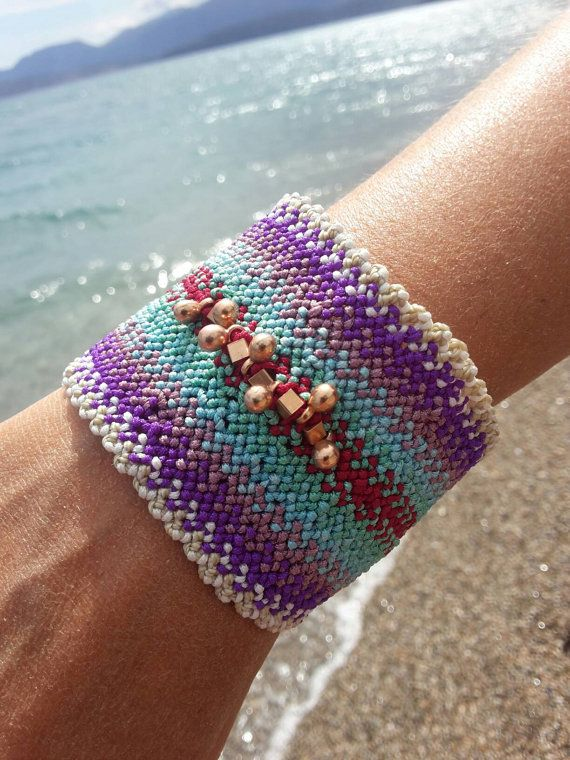 Macrame colorful bracelet-Boho style cuff by MadeInHandKat