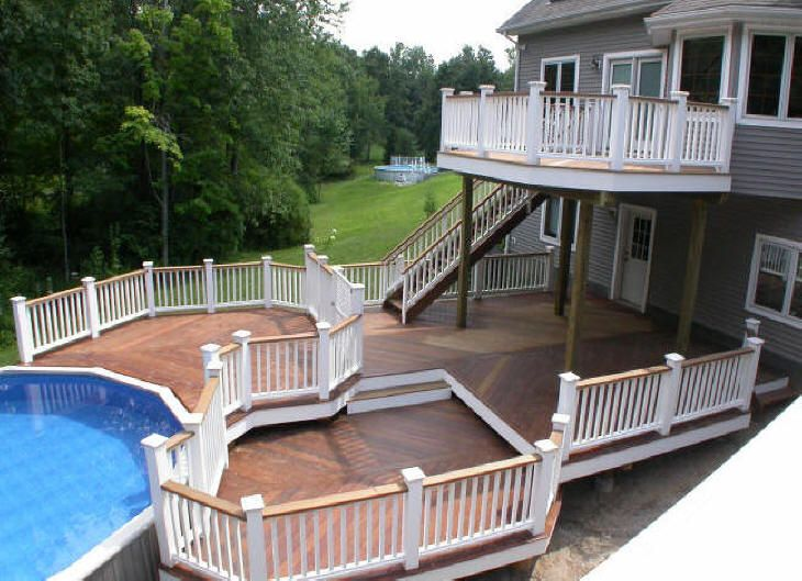 Two level deck for the ultimate outdoor deck material for Multi level deck above ground pool