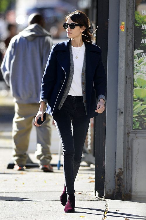 Alexa Chung wearing our velvet Cubana boots in claret whilst walking the streets of New York.