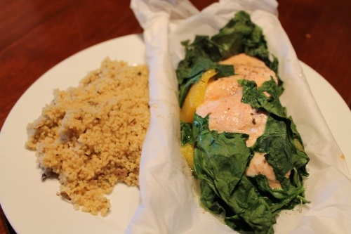 Orange Salmon and Spinach in Parchment | Lunch/Dinner | Pinterest