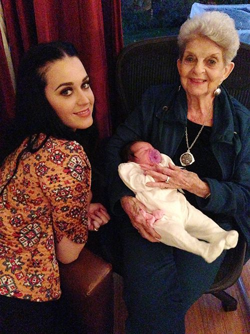 Katy tweeted this photo of her and her grandmother with ...
