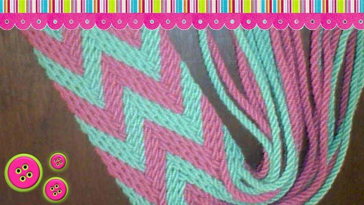 Esta hecha en hilo crochet, el ancho de esta gasa es de 5 cm, largo tejido 120 cm, largo mechas 25 cm aprox (distintos largos) *Como hacer los cordones:* htt...