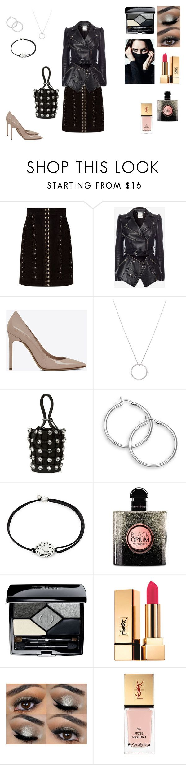 """Forever black"" by princessezouga ❤ liked on Polyvore featuring Balmain, Alexander McQueen, Yves Saint Laurent, Roberto Coin, Alexander Wang, Alex and Ani and Christian Dior"