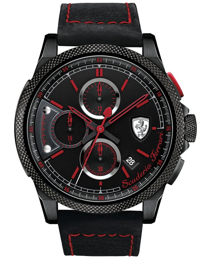 Scuderia Ferrari Men's Chronograph Formula Italia S Black Leather Strap Watch 46mm 830273 - Men's Watches - Jewelry & Watches - Macy's