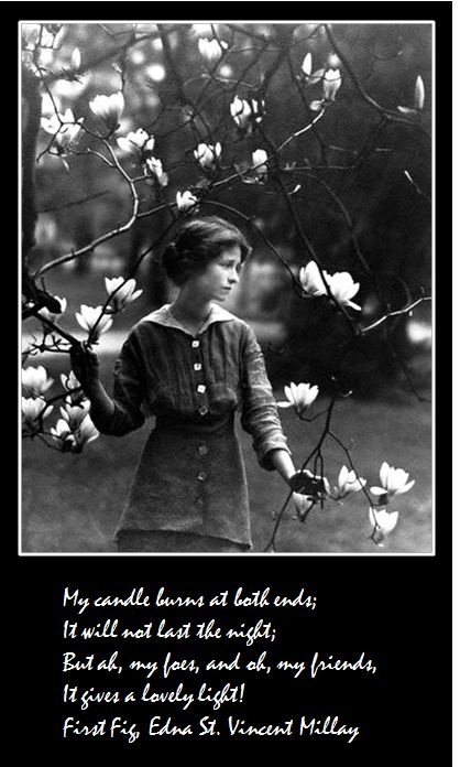 edna st vincent millay Millay, known for her melodious upbeat rhyming poetry, wrote daphne in three perfect rhyming tercets (aaa-bbb-ccc) daphne, in greek mythology, is a water nymph (a naiad) who attracted the attention of apollo apollo perused daphne before she begged her father, ladon, to help ladon then turned his.