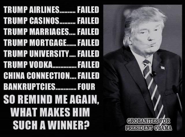 An anti-Donald Trump meme mocking his various failures.