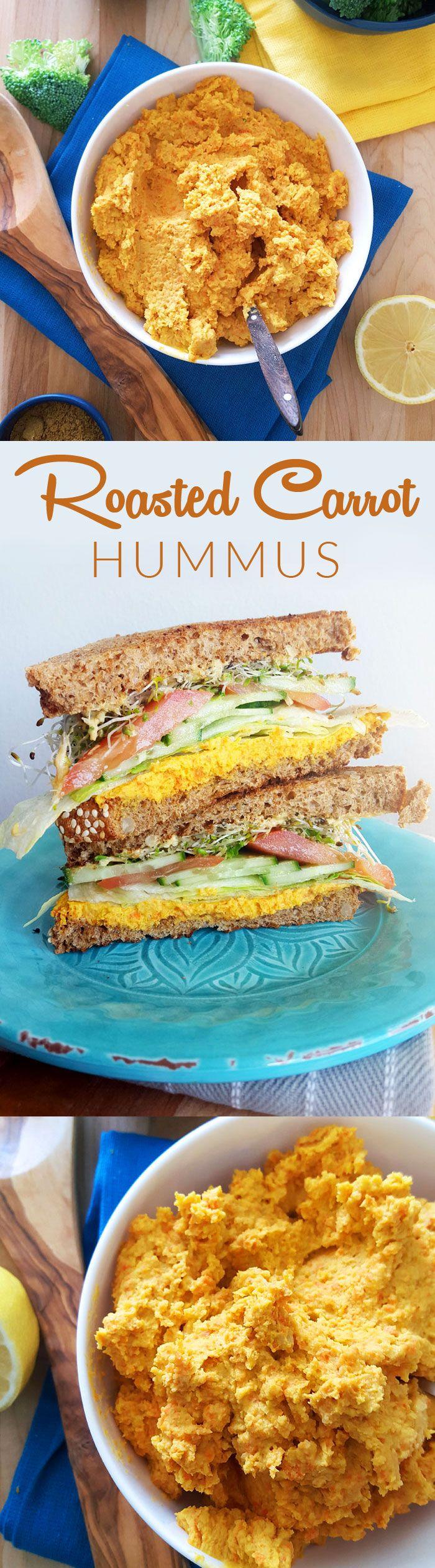 Healthy Roasted Carrot Hummus - Try it in a sky-high veggie-packed sandwich! #vegan #heatlhysnacks